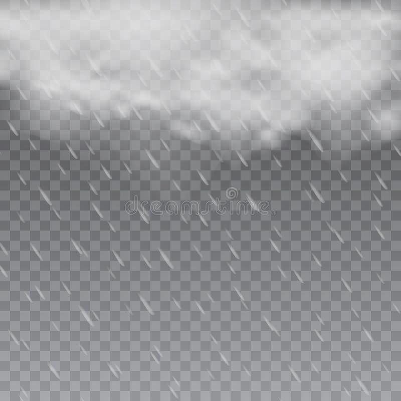 Dimmigt regnigt väder i genomskinlig bakgrund vektor vektor illustrationer