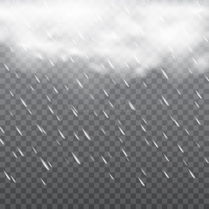 Dimmigt regnigt väder i genomskinlig bakgrund vektor royaltyfri illustrationer