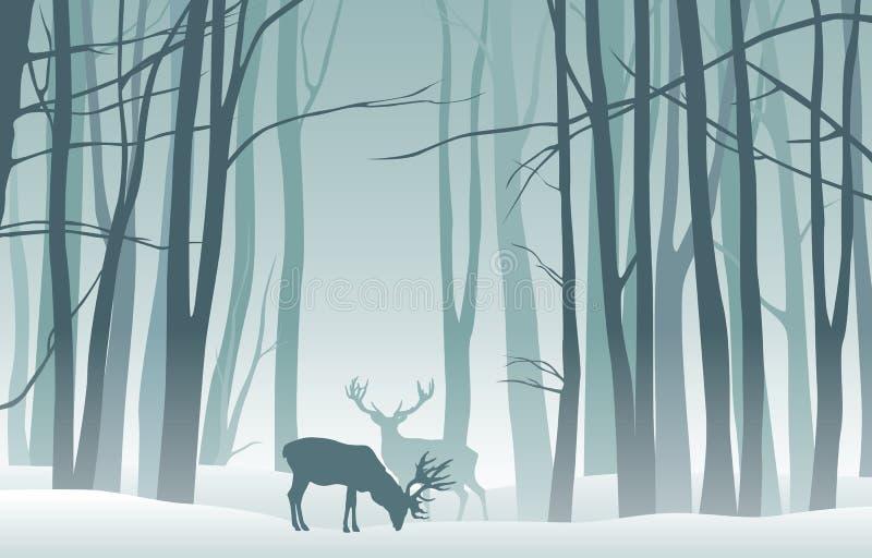 Dimmigt vinterlandskap för vektor med konturer av träd och hjortar stock illustrationer