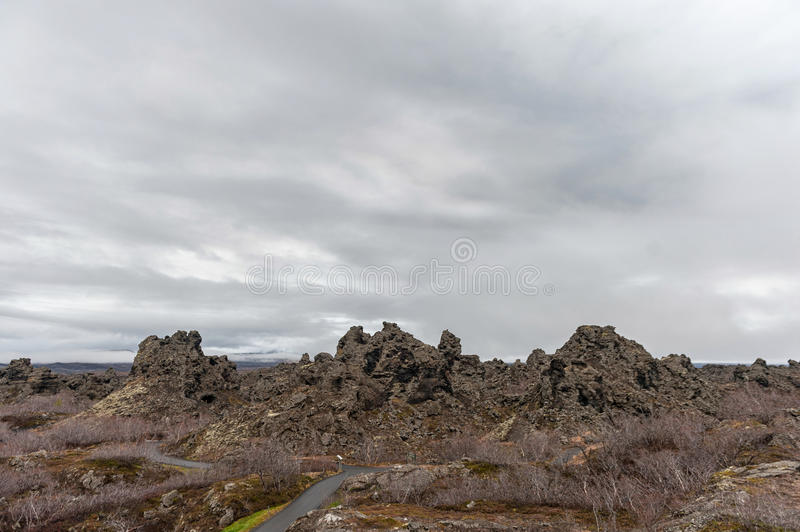 Dimmuborgir. Large area of unusually shaped lava fields east of Iceland royalty free stock images