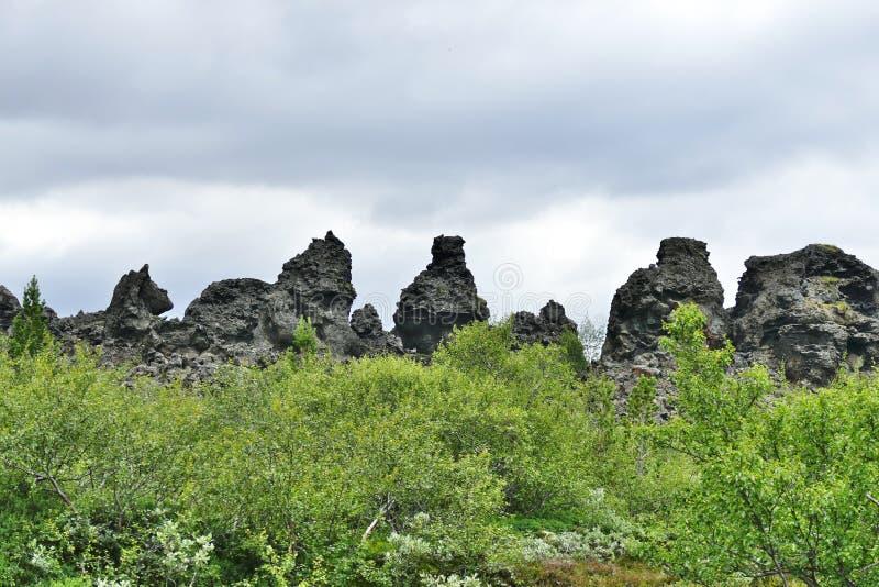 Dimmuborgir Lava Fields en el lago Myvatn, Islandia fotos de archivo libres de regalías