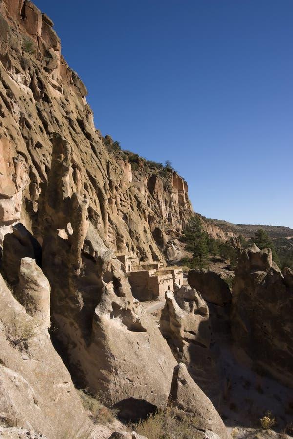 Dimore di scogliera a Bandrlier New Mexico immagini stock libere da diritti