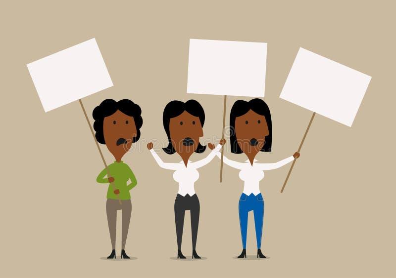 Dimostranti delle donne di affari del fumetto con i cartelli illustrazione di stock