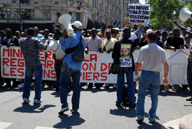 Dimostrazione dei lavoratori migranti a Parigi immagini stock libere da diritti