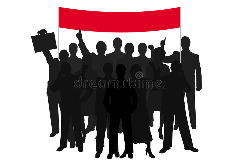 Dimostrazione della gente della siluetta del gruppo illustrazione vettoriale