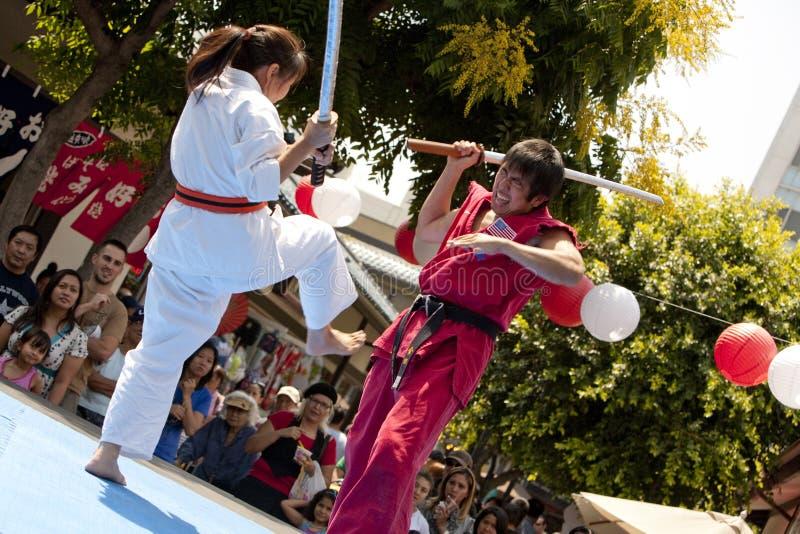 Dimostrazione di arti marziali di settimana di Nisei fotografie stock