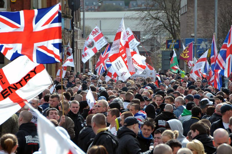 Dimostrazione di EDL in Blackburn fotografia stock libera da diritti