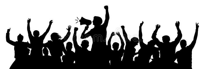 Dimostrazione politica Uomo di partito allegro con l'altoparlante Folla arrabbiata della gioventù di protesta Vettore della silue royalty illustrazione gratis