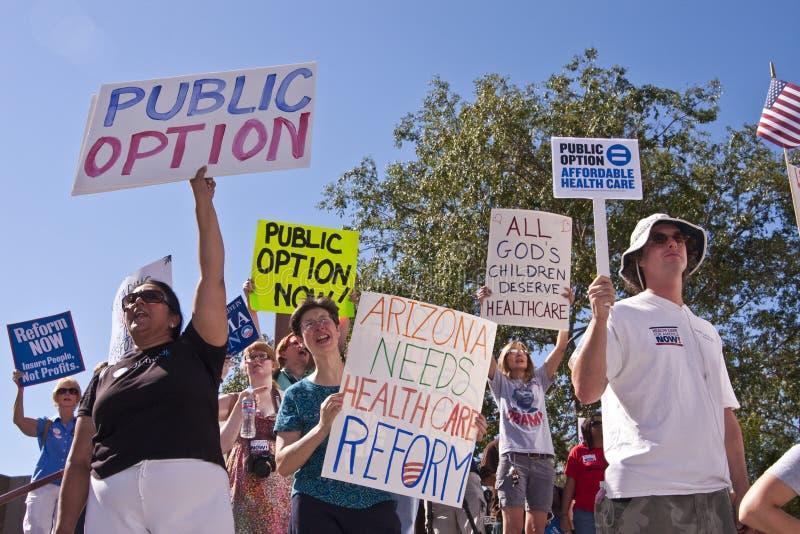 Dimostrazione Suporters di riforma di sanità di Obama fotografia stock