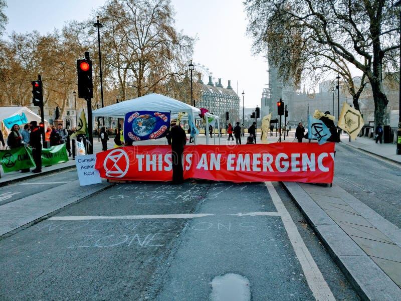 Dimostrazioni Londra Regno Unito di protesta di ribellione di estinzione fotografia stock libera da diritti