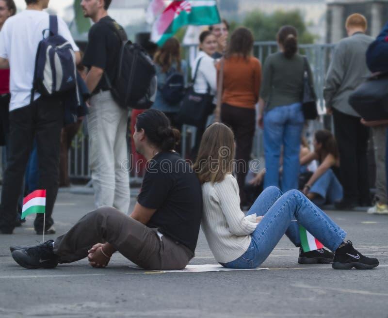 Dimostrazioni politiche in Ungheria 2006 immagine stock libera da diritti