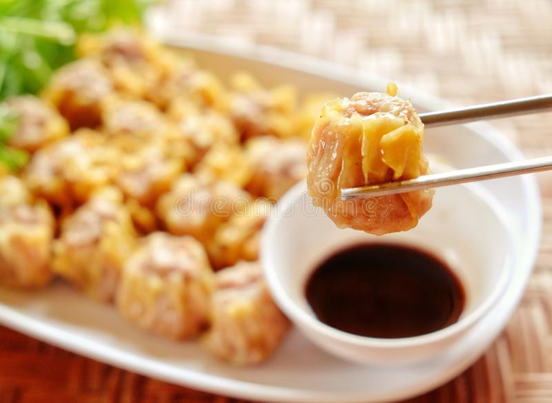 Dimsum and chopsticks royalty free stock images