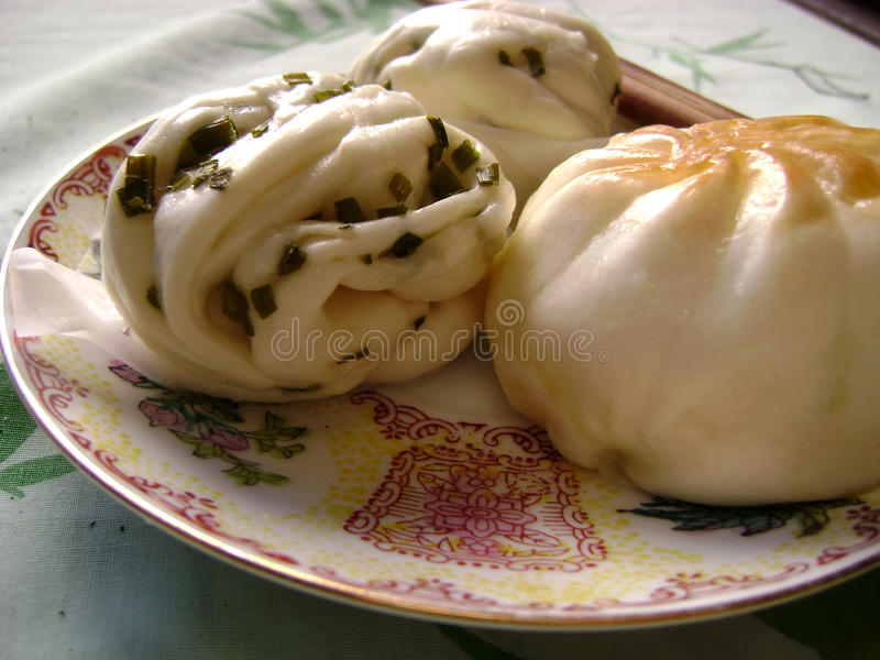 Chinese breakfast steamed bun and twisted roll royalty free stock photography