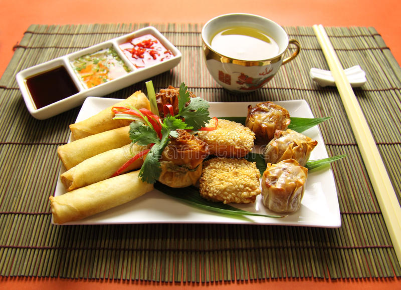Dimsums And Dips Royalty Free Stock Photography