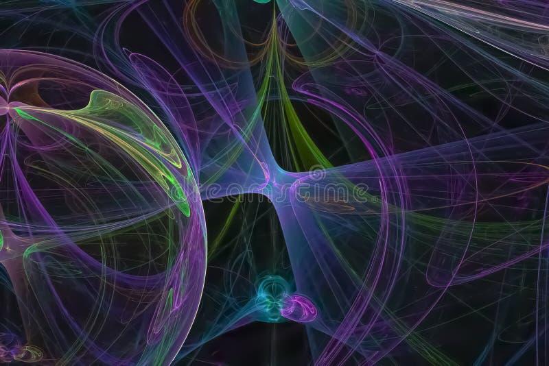 Dinámica digital surreal vibrante fractal imaginación moderna fantasía caos de fondo ciencia brillante ilustración del vector