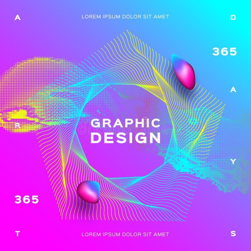 Dinámica líquida de las partículas que brilla intensamente Fondo geométrico colorido El líquido de la pendiente forma la composic libre illustration
