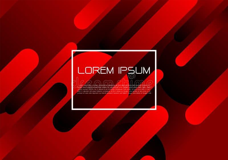 A dinâmica geométrica preta vermelha do sumário dá forma à composição com vetor futurista moderno branco do fundo do projeto da c ilustração stock