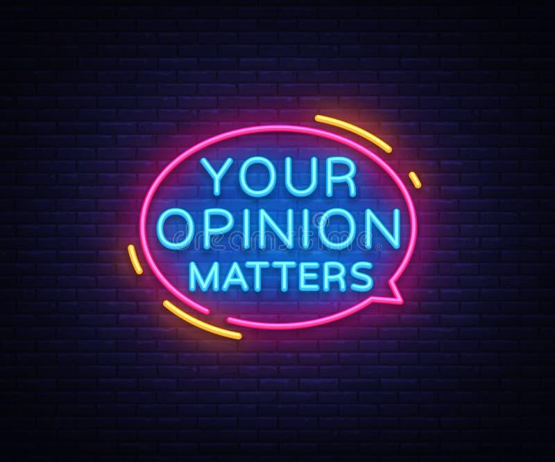 Din åsikt betyder vektorn för neontecken Planlägg mallneontecknet, det ljusa banret, neonskylten, nightly som är ljus royaltyfri illustrationer