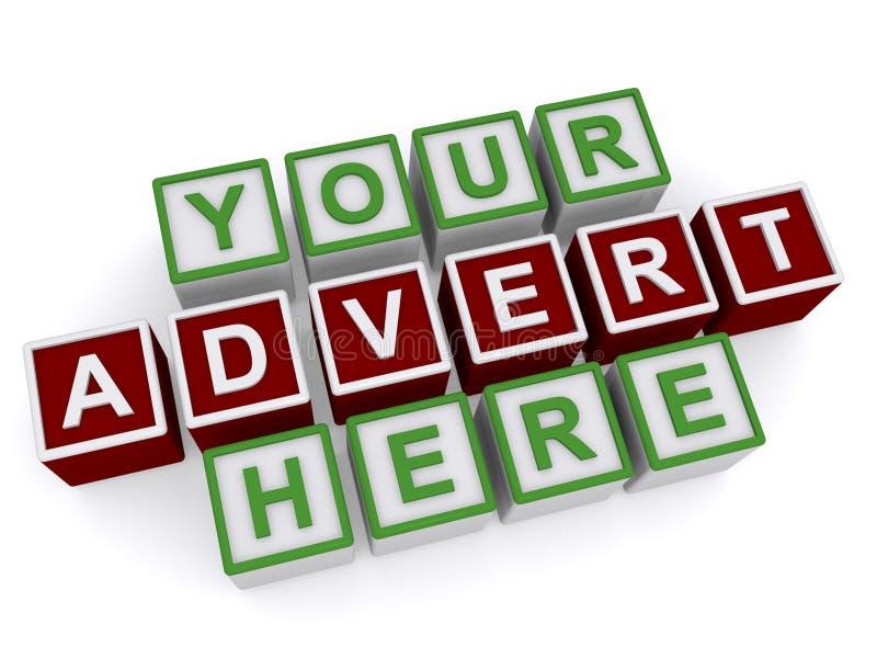 Din annons här på kuber 3D royaltyfri illustrationer