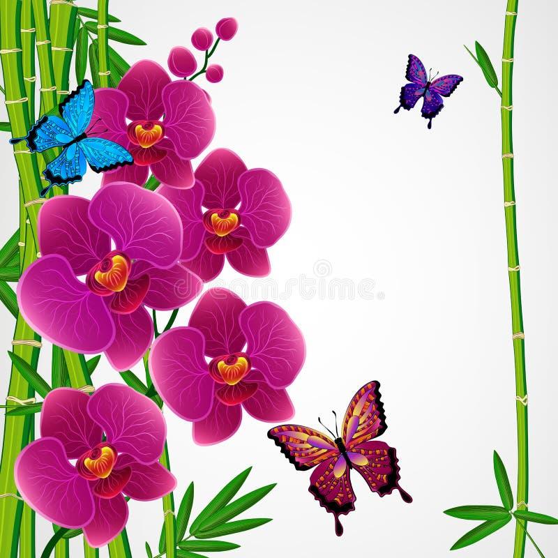 din blom- illustration för bakgrundsdesign Bambu och orkidér med fjärilar stock illustrationer
