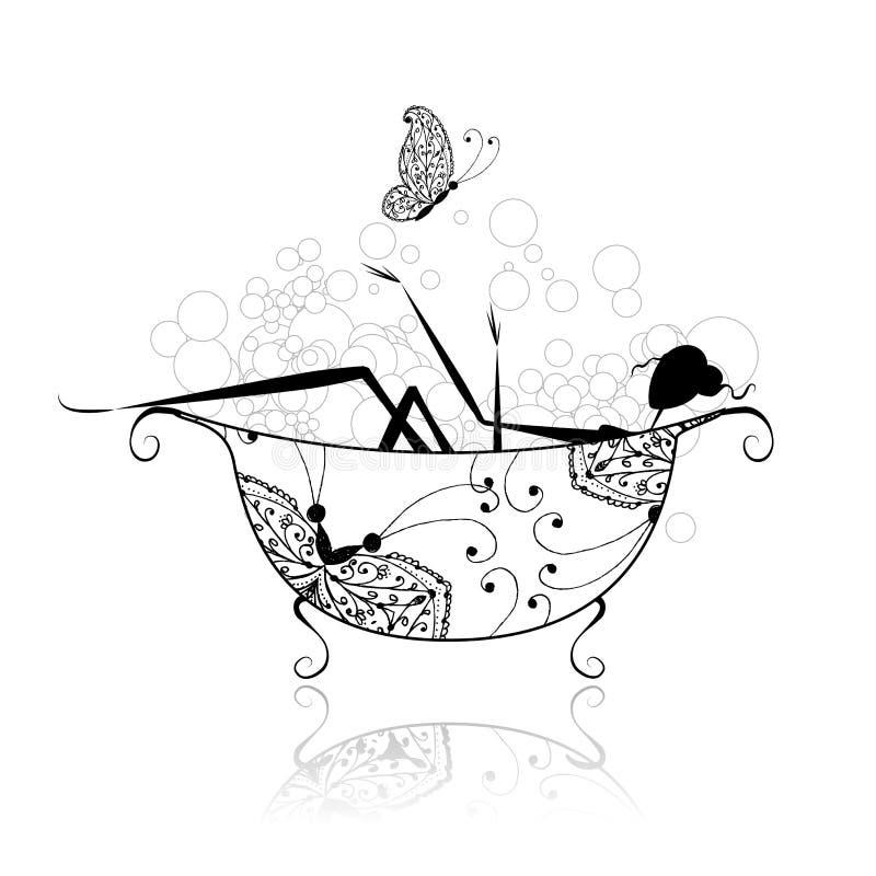 din kvinna för badrumdesignskum royaltyfri illustrationer