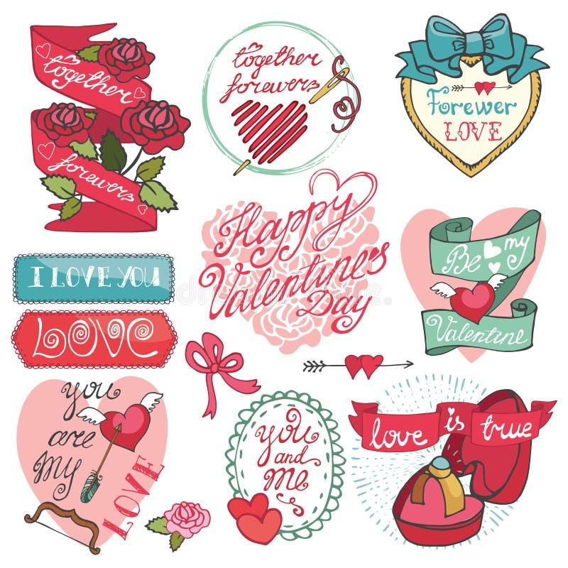 dina set valentiner för gullig dagdesignrosette Emblem etiketter, ramar stock illustrationer