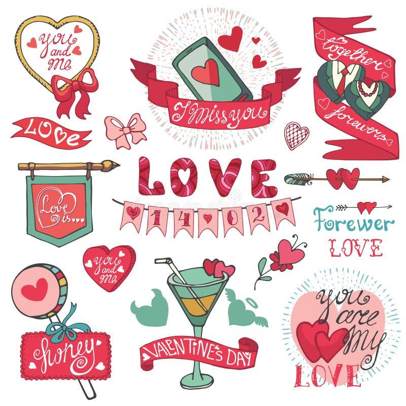 dina set valentiner för gullig dagdesignrosette Emblem etiketter som är dekorativa stock illustrationer