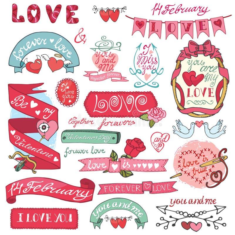 dina set valentiner för gullig dagdesignrosette Etiketter emblem, ram, hjärtor royaltyfri illustrationer