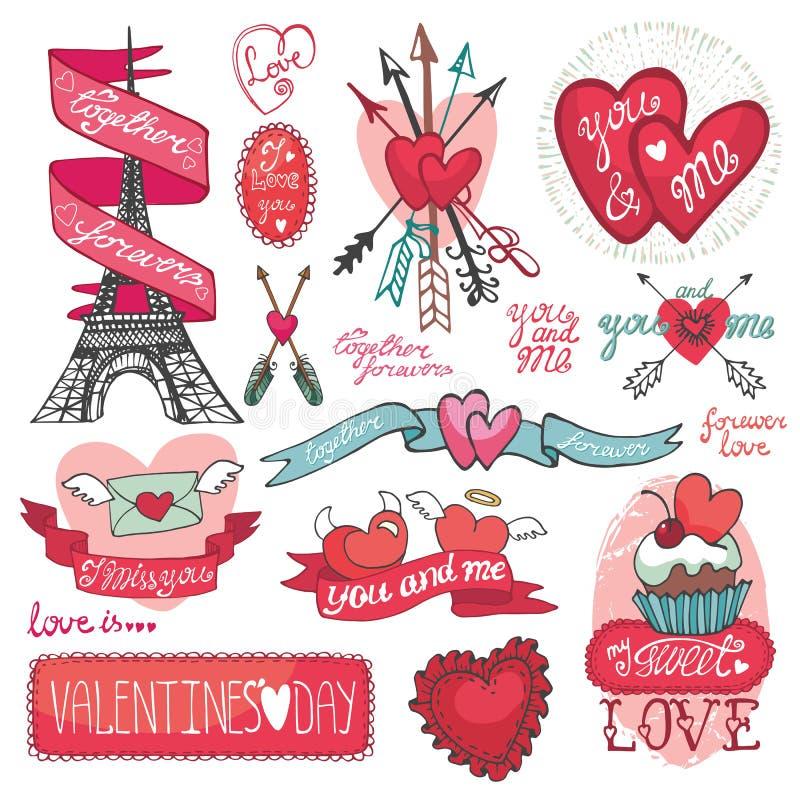 dina set valentiner för gullig dagdesignrosette Etiketter emblem som är dekorativa vektor illustrationer