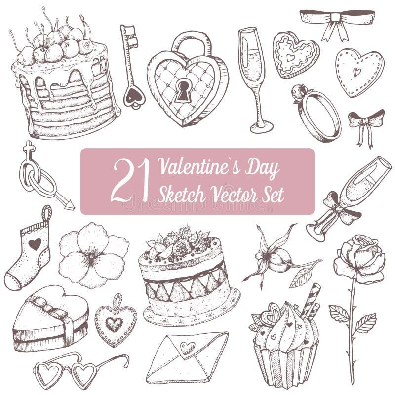 dina set valentiner för gullig dagdesignrosette Kakan muffin, steg, hjärta, cirkeln, den heartshaped asken, exponeringsglas, förä arkivbild