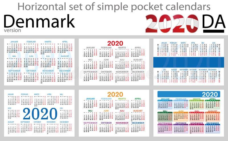 Dinamarca ajustou-se de calendários do bolso para 2020 ilustração stock