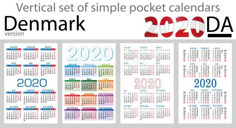 Dinamarca ajustou-se de calendários do bolso para 2020 ilustração royalty free