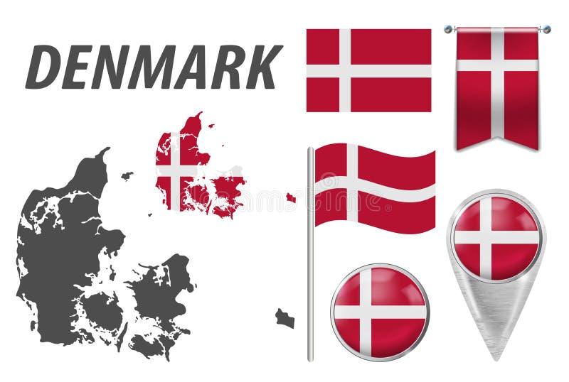 dinamarca Coleção dos símbolos na bandeira nacional das cores nos vários objetos isolados no fundo branco Bandeira, ponteiro, bot ilustração stock