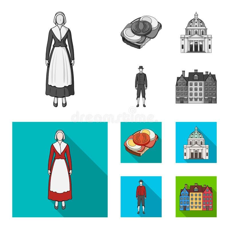 Dinamarca, história, restaurante, e o outro ícone da Web no estilo monocromático, liso Sanduíche, alimento, pão, ícones na coleçã ilustração do vetor