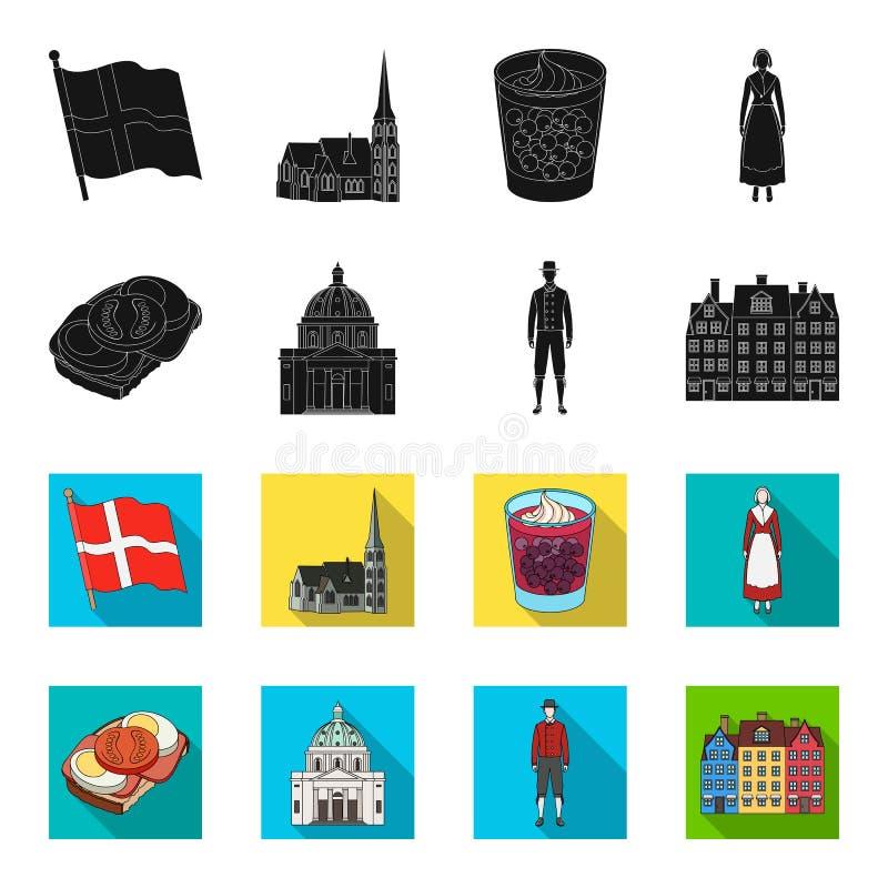 Dinamarca, história, restaurante, e o outro ícone da Web no preto, estilo do flet Sanduíche, alimento, pão, ícones na coleção do  ilustração stock
