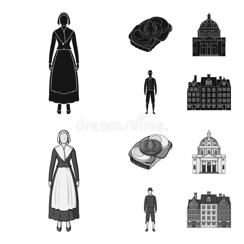 Dinamarca, história, restaurante, e o outro ícone da Web no preto, estilo do monochrom Sanduíche, alimento, pão, ícones na coleçã ilustração royalty free