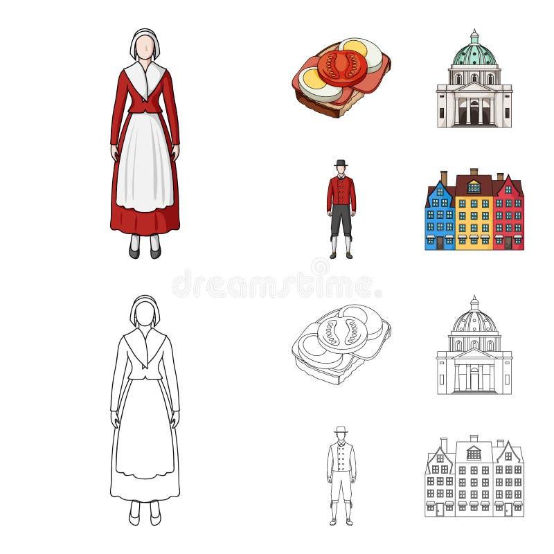 Dinamarca, história, restaurante, e o outro ícone da Web nos desenhos animados, estilo do esboço Sanduíche, alimento, pão, ícones ilustração do vetor