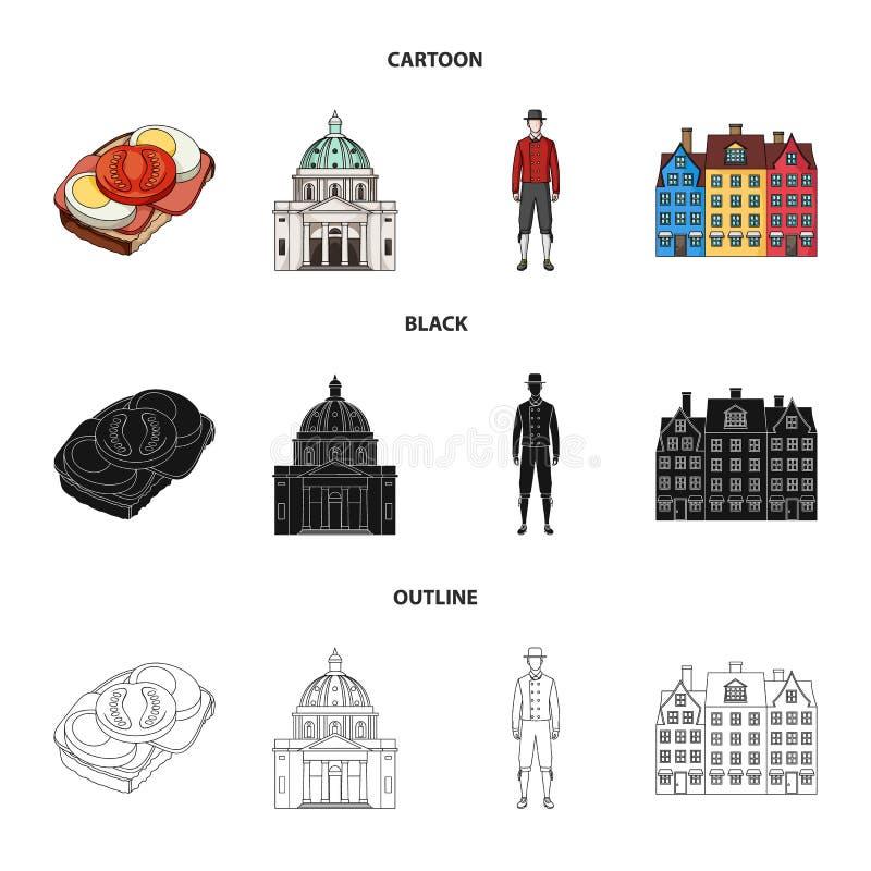 Dinamarca, história, restaurante, e o outro ícone da Web nos desenhos animados, preto, estilo do esboço Sanduíche, alimento, pão, ilustração royalty free