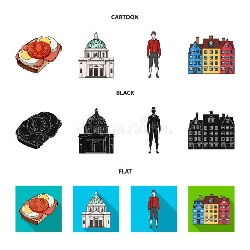 Dinamarca, história, restaurante, e o outro ícone da Web nos desenhos animados, preto, estilo liso Sanduíche, alimento, pão, ícon ilustração stock