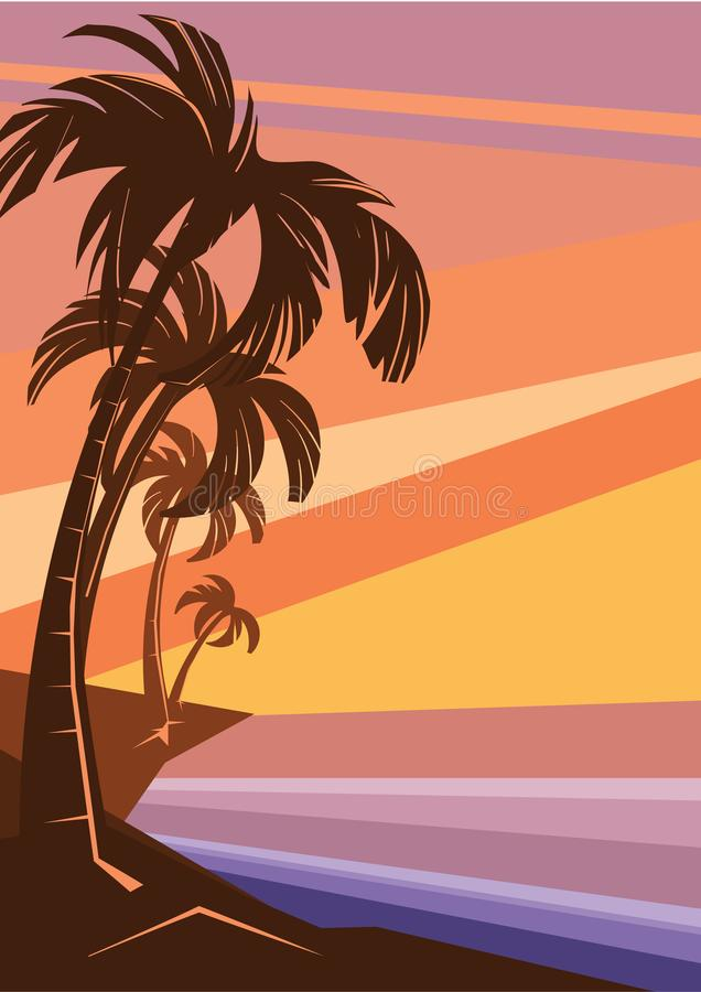 Fantasy tropic ocean cost sunset with palm royalty free stock photo