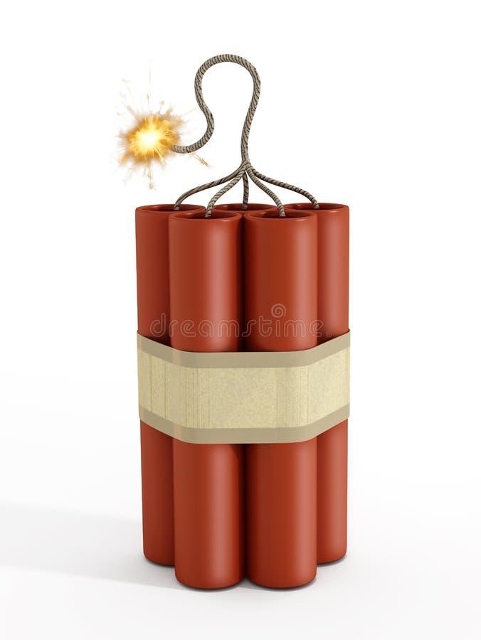 Dinamita con un fusible ardiente ilustración del vector