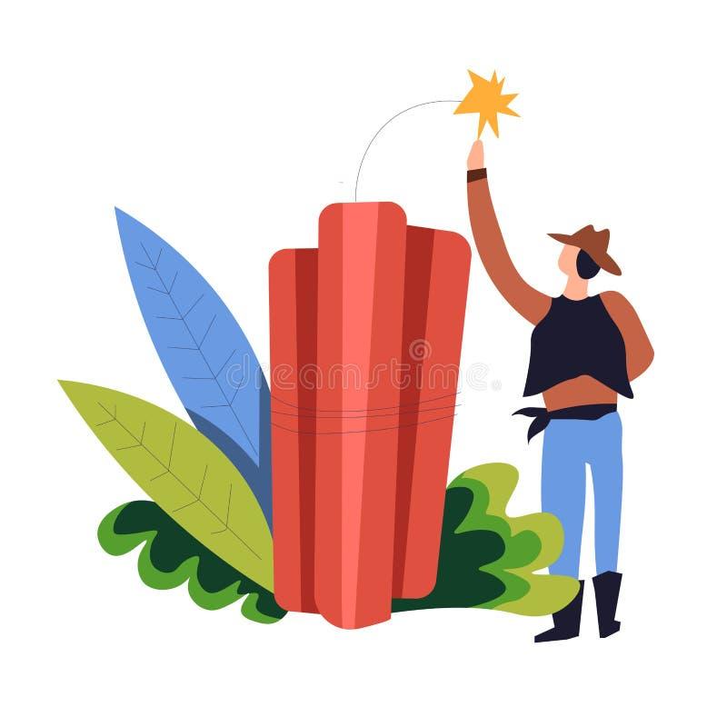 Dinamite e cowboy nell'uomo dell'icona isolato cespuglio e bomba con la scintilla illustrazione di stock