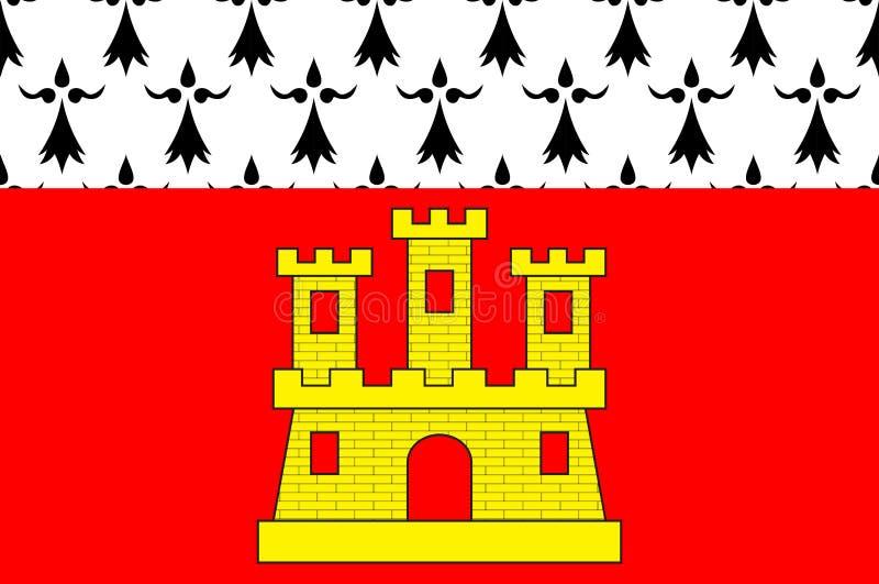 Dinan旗子在布里坦尼,法国棚dArmor的  库存例证