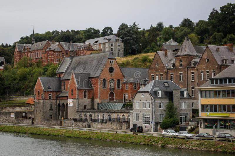 The ancient medieval city of Dinan, where the saxophone was coined. View of the houses from the river royalty free stock photography