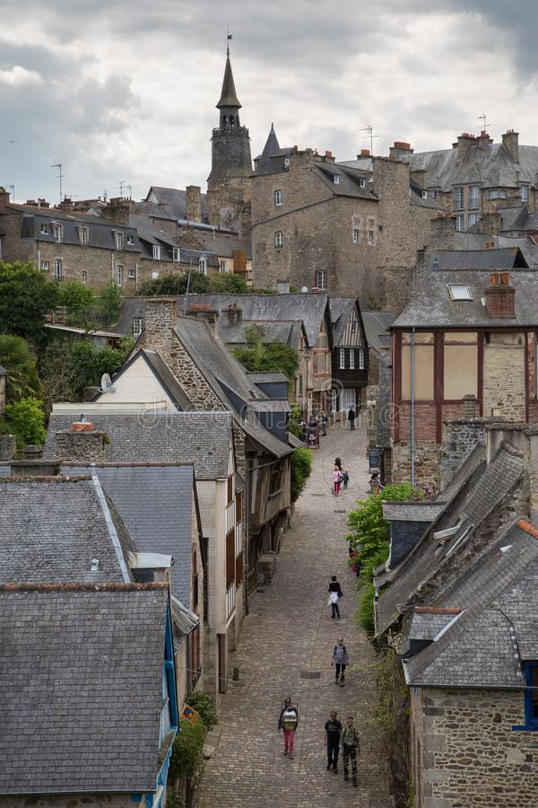 Dinan, Brittany May 7th 2013 : View looking uphill from the old w stock image