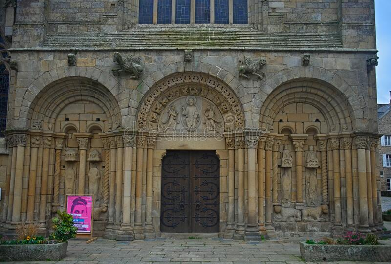 DINAN, FRANCE - April 7th 2019 - Huge old medieval stone catholic church.  royalty free stock photos