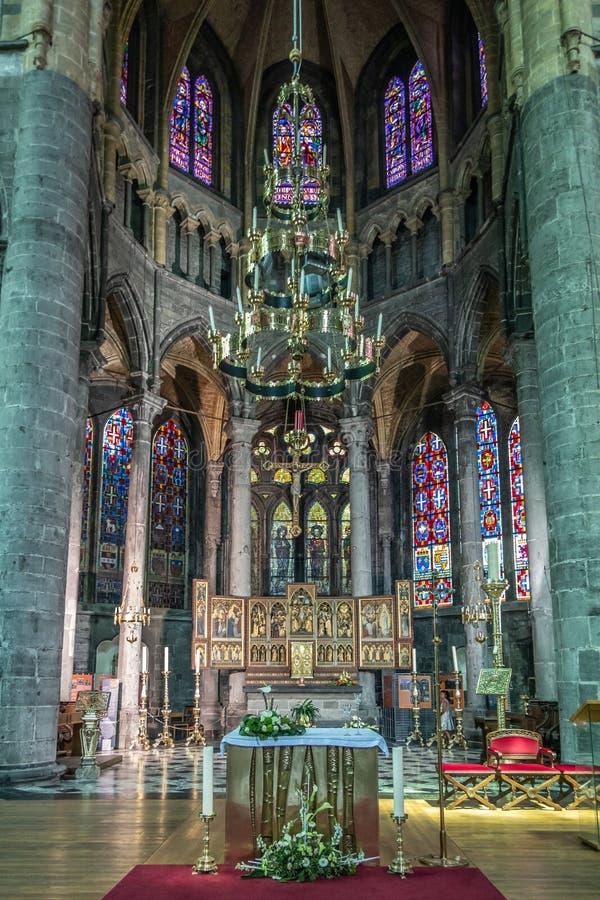Main altar of Collégiale Notre Dame de Dinant church, Belgium stock image