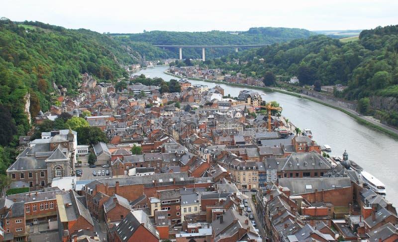Dinant e o rio Meuse, Bélgica foto de stock