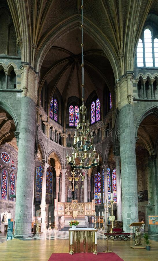 View of the altar in the Notre Dame cathedral in the town of Dinant stock images