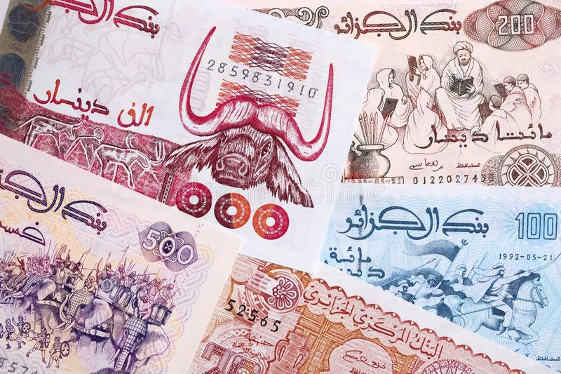 Dinar algérien, un fond image stock